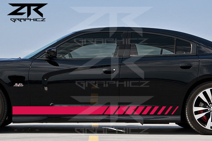 2011-2014 Dodge Charger Rocker Panel Stripes Mopar Style Vinyl Graphics Kit