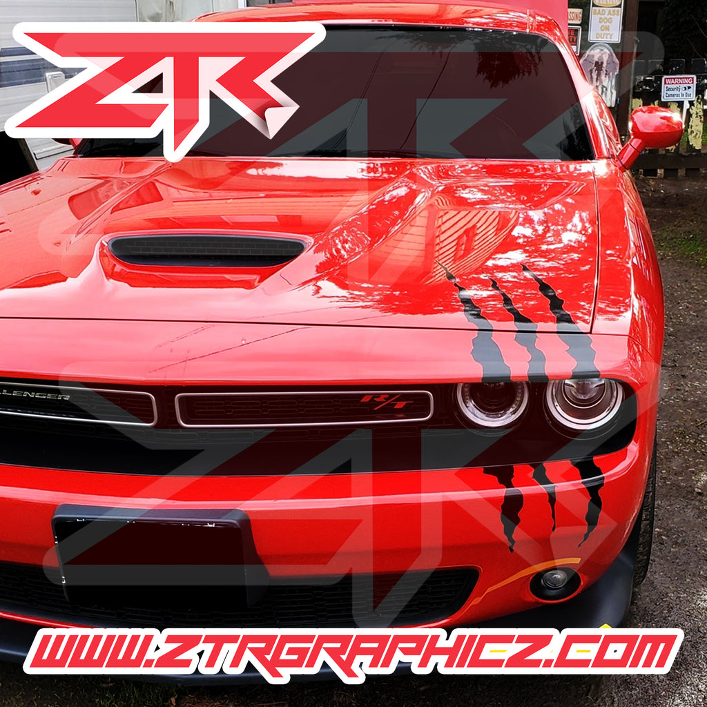 Dodge Challenger Large Oversize Headlight Claw Scratch Mark Decal Graphic Sticker