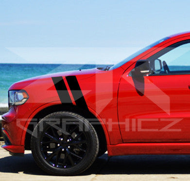 Dodge Durango Dual Fender Stripe, Hash Mark,  Stripe Decal Graphic Kit - ztr graphicz