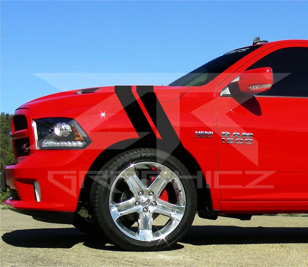 Dodge Ram Dual Fender Stripe Hash Mark Rt 1500 Stripe