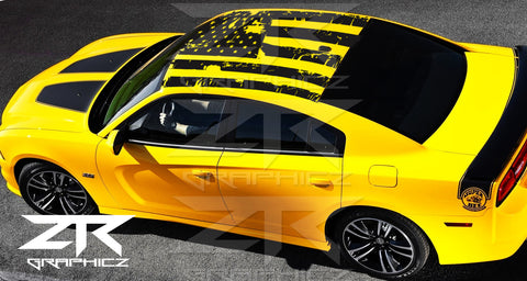 2008-2017 Dodge Charger American USA Flag Roof Decal