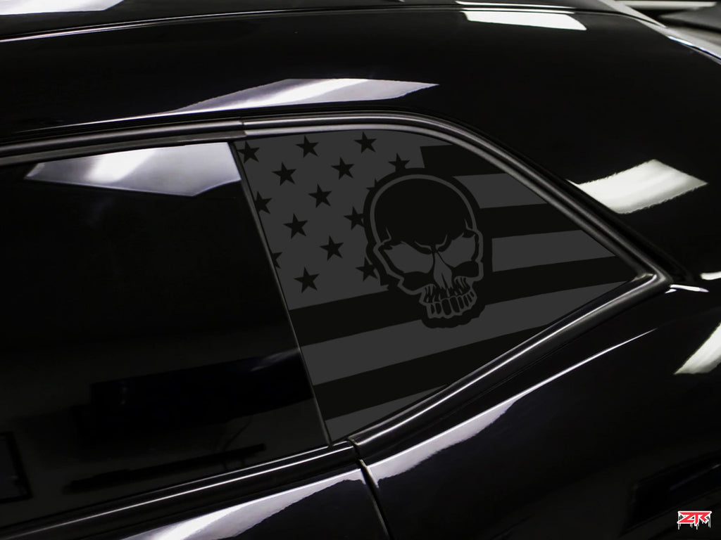Dodge Challenger Skull  American Flag Window Decals