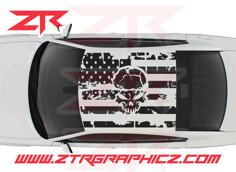 2006-2019 Dodge Charger American USA Flag With Skull Decal