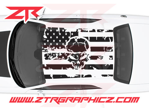 2008-2019 Dodge Challenger American USA Flag with Skull Roof Decal