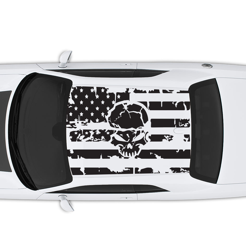 2008-2020 Dodge Challenger American USA Flag with Skull Roof Decal