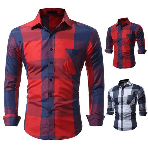 DDIIRO Men Casual Full Sleeve Plaid Cotton Shirts