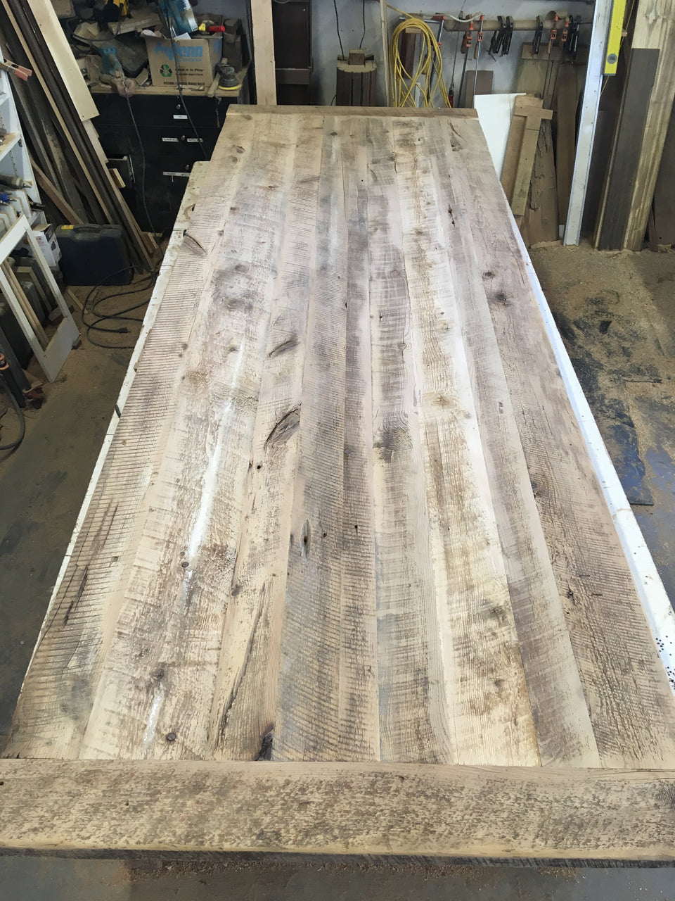Incomplete Reclaimed Hemlock Harvest Table top. SKU HEM2