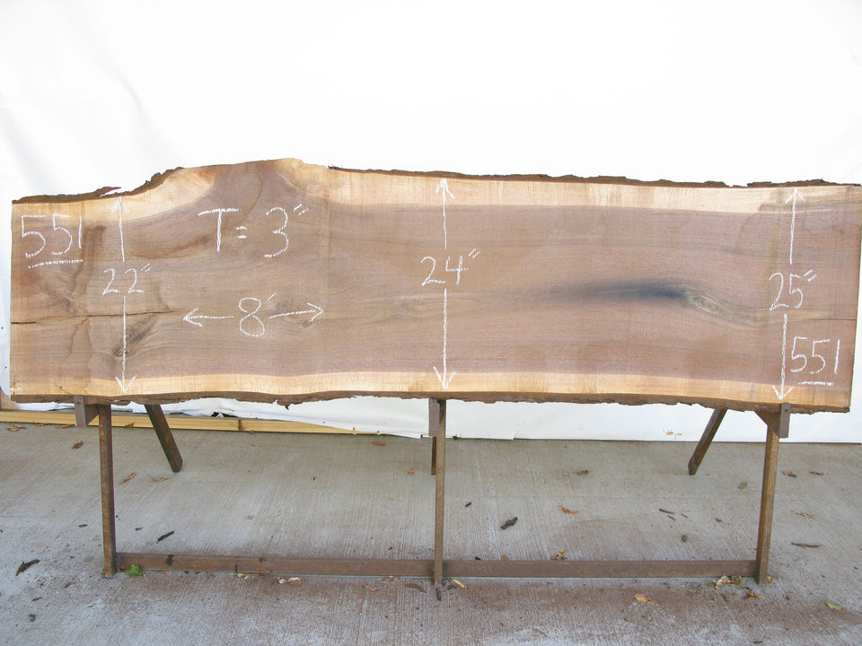 "Walnut A Slab 3"" x 24"" x 8' WAL-551"