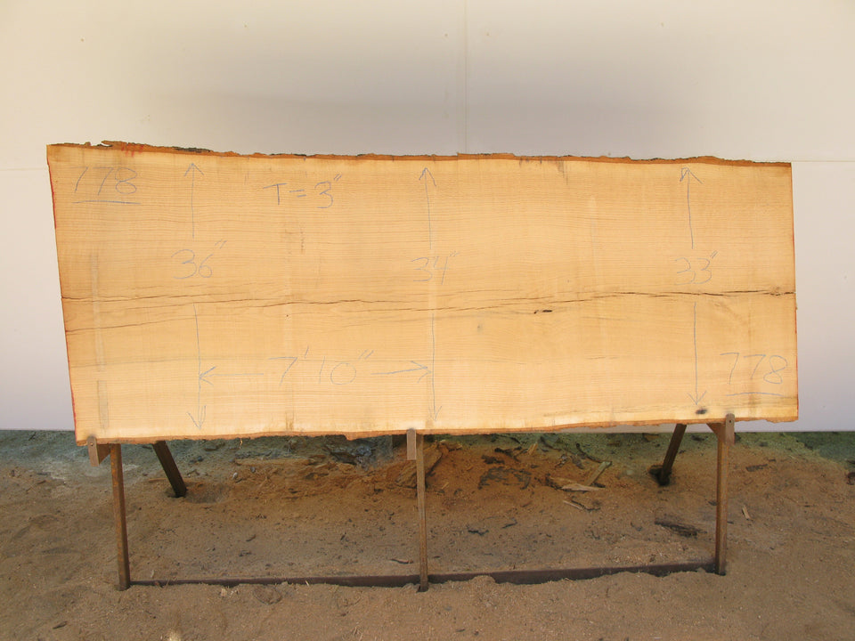 "Red Oak A Slab 3"" x 34"" x 7'10"" SKU778"