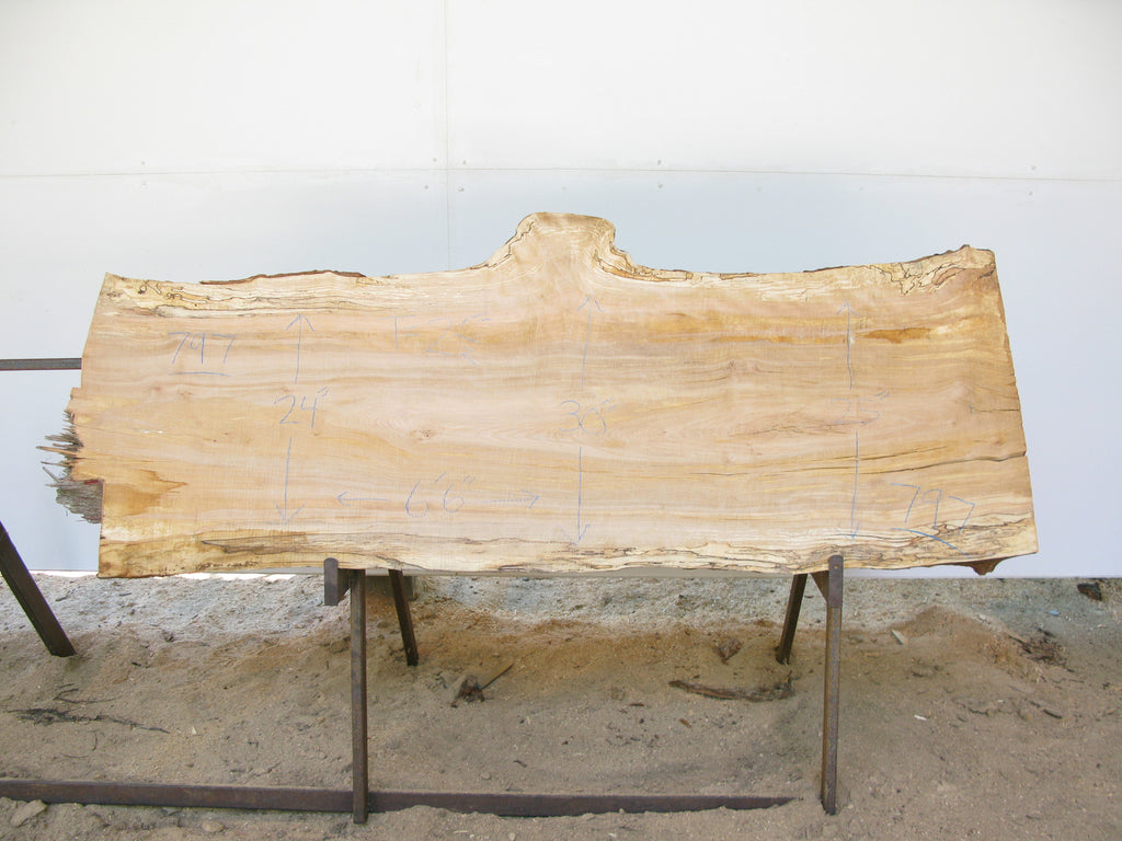 "Spalted Yellow Birch Slab 2.5"" x 26"" x 6.5' SKU797"