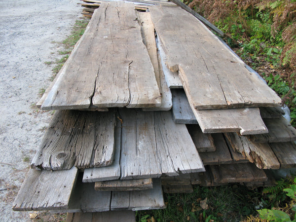 "Brown and Grey ""Naily"" barn board. 1""x 8-24"".  Up to 12' long. SKU 1097"