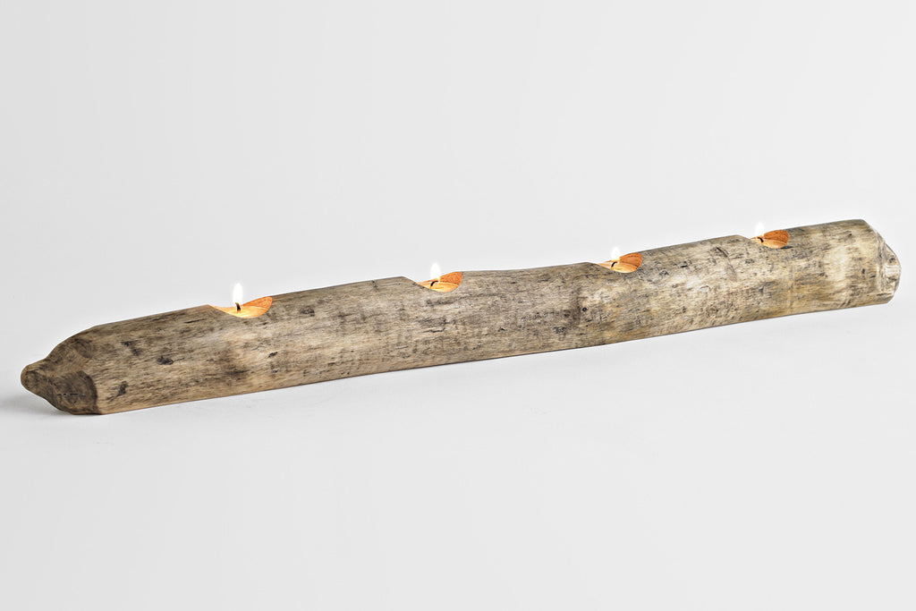 Quad Gnawed Wood Candle Holder