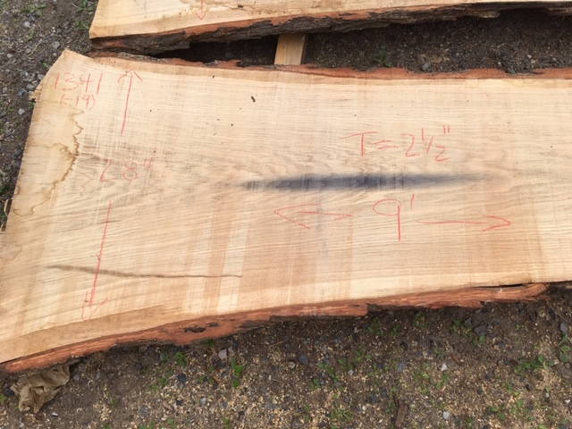"Red Oak A Slab 2.5"" x 24"" x 9' SKU 1341-19"