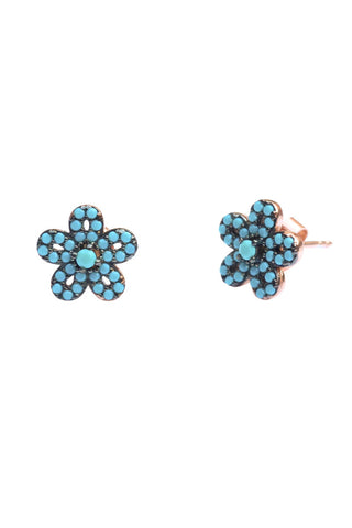 Turquoise Flower Ear Studs