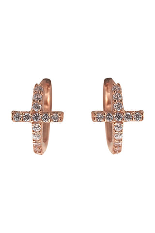 Cross Mini Huggies Rose Gold