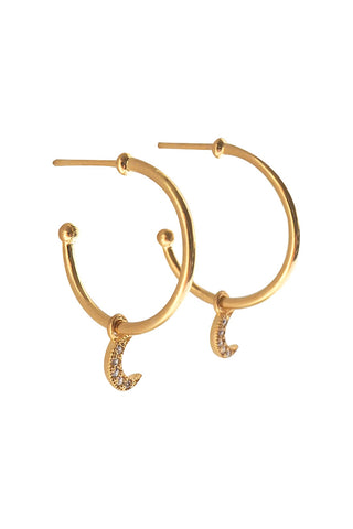 Selene Moon Hoops Gold