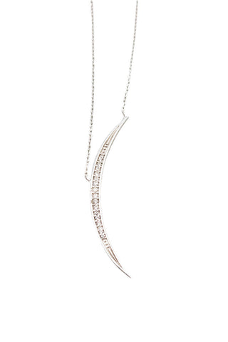 Silver Thin Crescent Moon Necklace