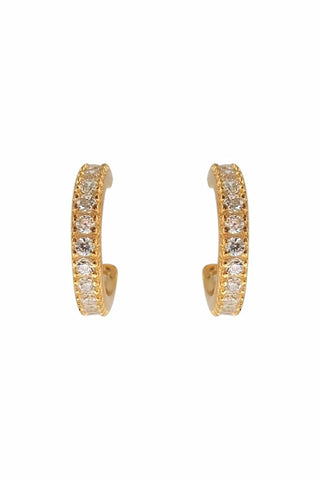 Mini Pave Hoop Earrings Gold