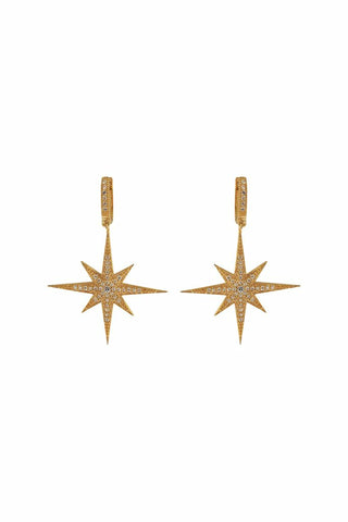 Compass Star Earrings Gold