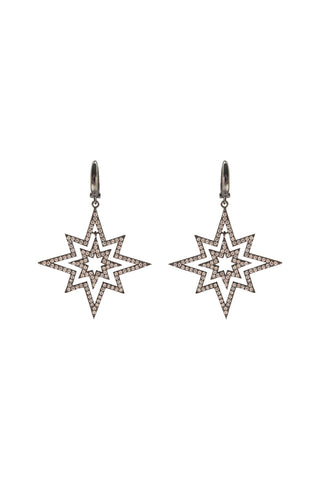 Supernova Earrings Gunmetal Silver