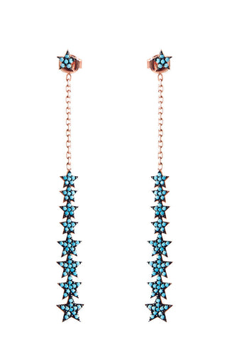 Turquoise Multi Drop Star Earrings