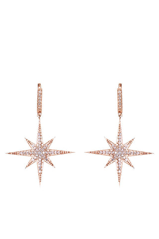 Compass Star Earrings Rose Gold