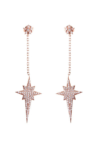 Rose Gold Drop Star Earrings