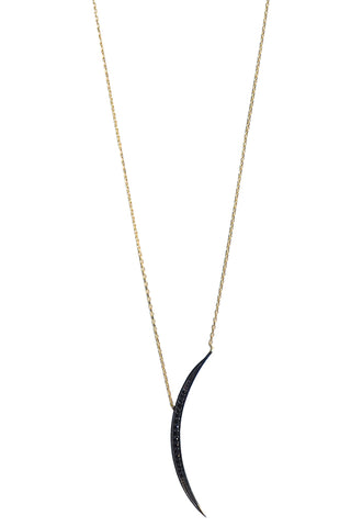 Black Thin Crescent Moon Necklace Gold