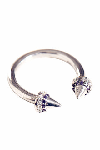 Double Spike Amethyst Silver Ring