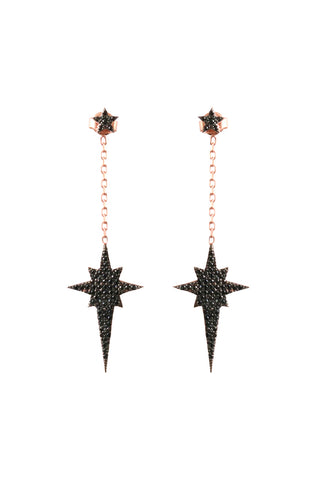 Black Drop Star Earrings