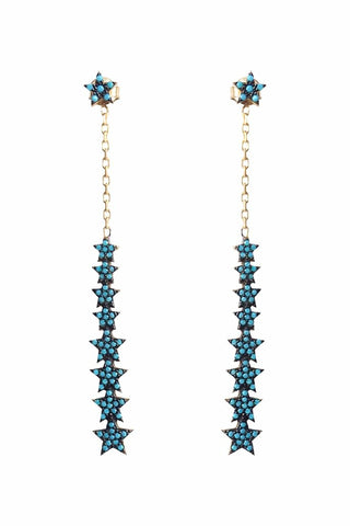 Turquoise Multi Drop Star Earrings Gold