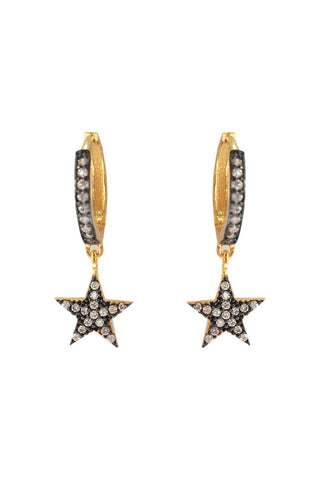Star Mini Hoop Huggie Earrings Gold