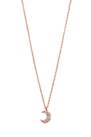 Moon Crescent Necklace Rose Gold