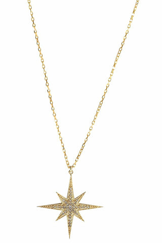 Compass Star Necklace Gold