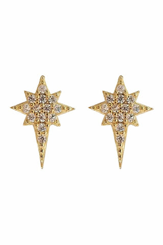 Ice Pick Star Ear Studs Gold