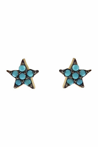 Turquoise Mini Star Ear Studs Gold