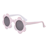 Daisy Flower Sunglasses - White with Red Spots
