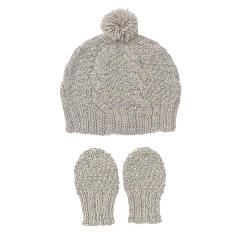 Olive Branch Beanie And Mitten Set Grey