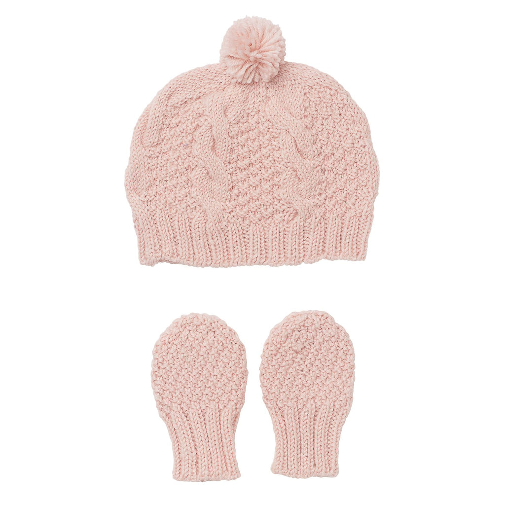 Vines Infant Beanie and Mittens Gift Set Pink