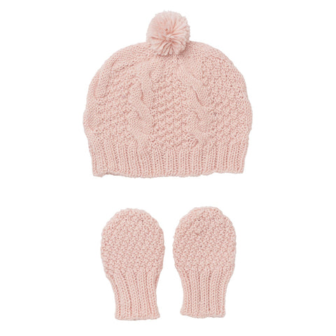 Heart Beanie and Mitten Set Pink