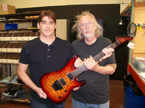 Grover Jackson and Keith from Eternashine with his new custom shop guitar