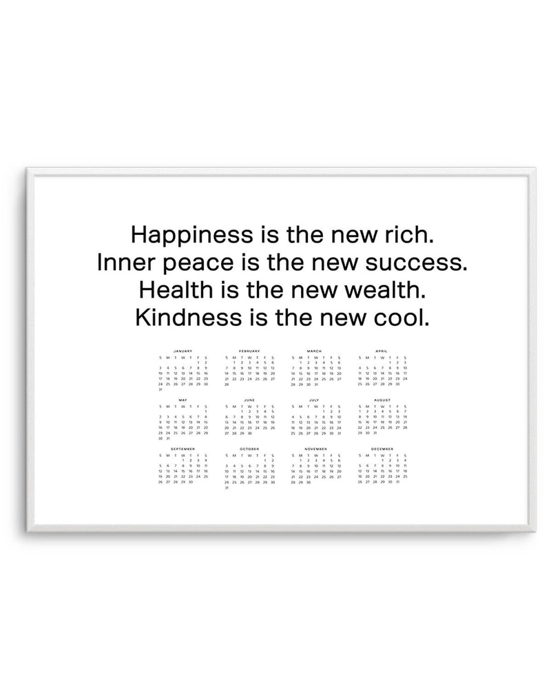 2021 Happiness is the New Rich Calendar | B&W - Olive et Oriel