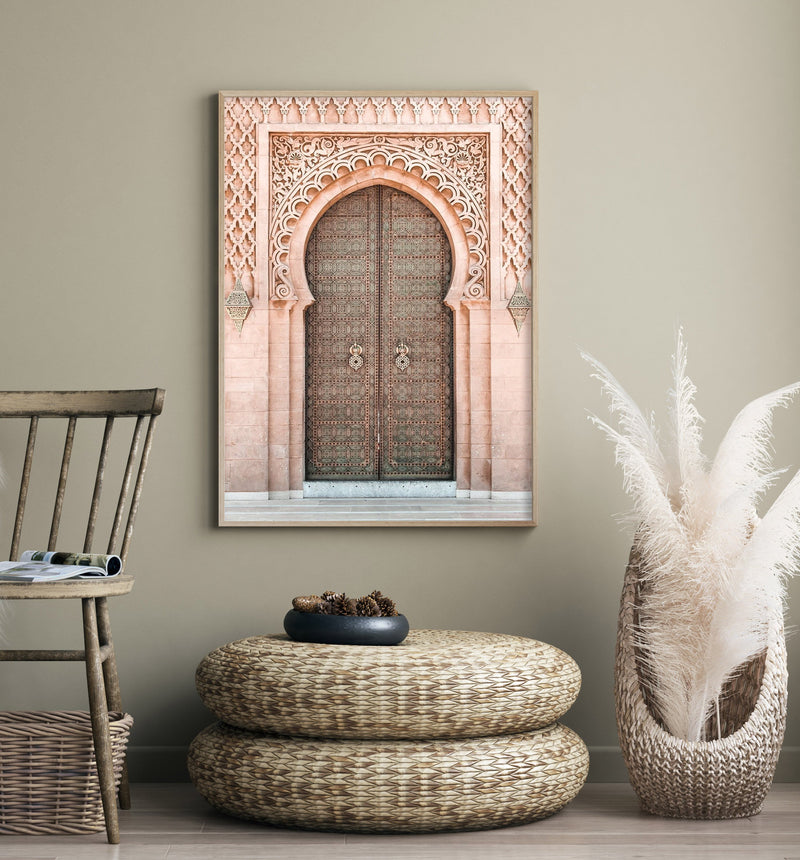 70x100 Moroccan Door | Blush framed in Solid Timber (SAVE $50!) - Olive et Oriel