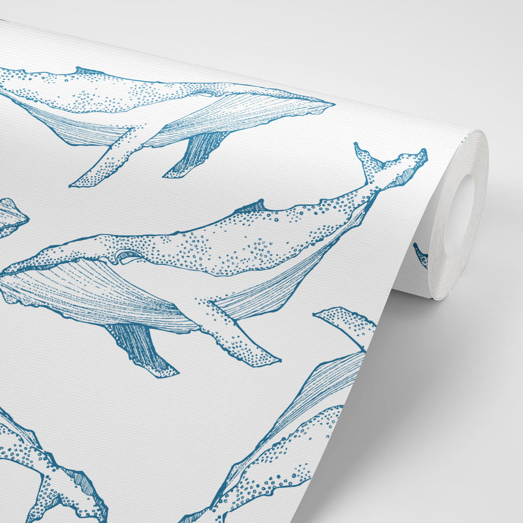 Whale Illustration | Navy on White Wallpaper