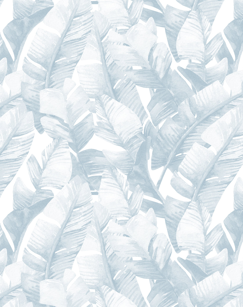 Banana Leaf Palms | Hamptons Blue Wallpaper