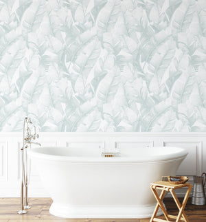 Banana Leaf Palms | Seafoam Wallpaper - Olive et Oriel