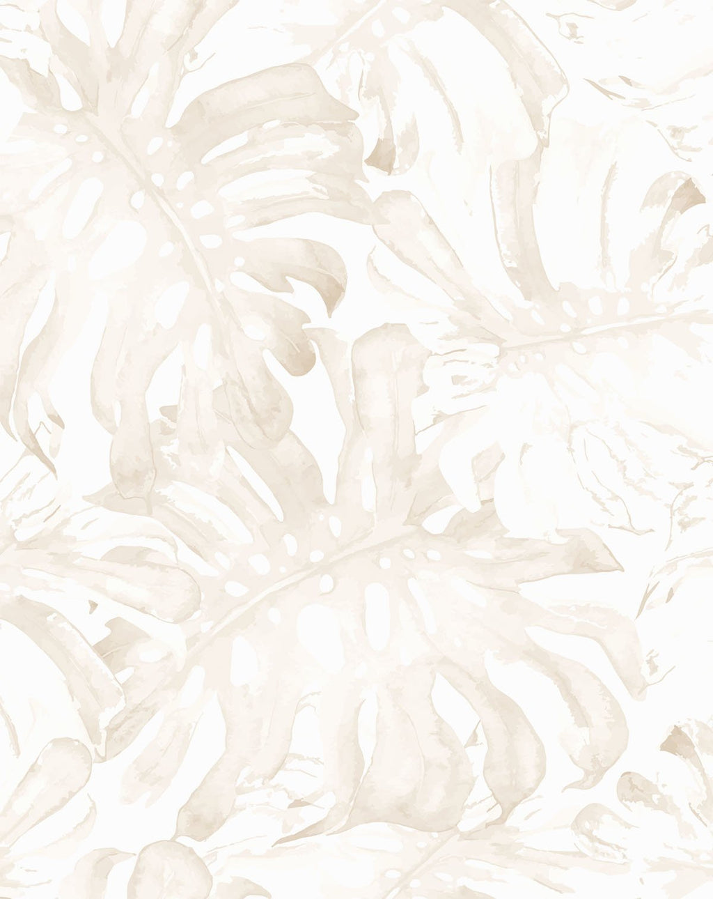 Beige Monstera Wallpaper - Olive et Oriel