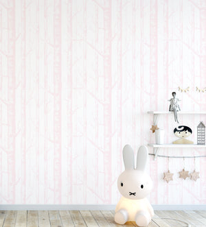 Birch Trees in Pink Wallpaper - Olive et Oriel
