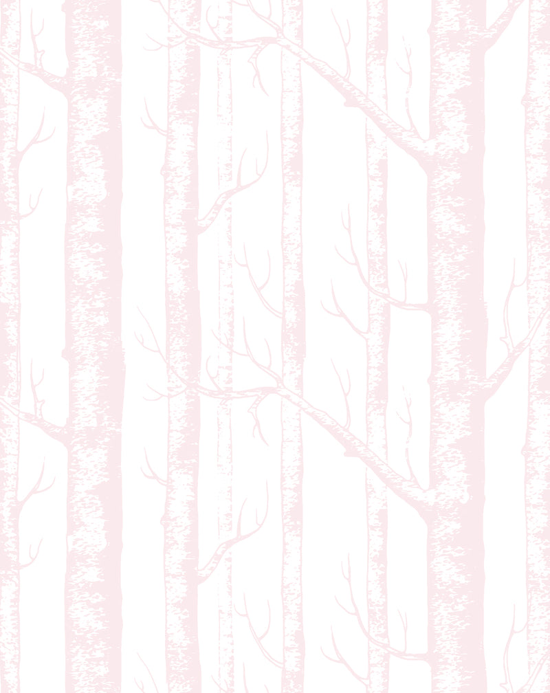 Birch Trees in Pink Wallpaper
