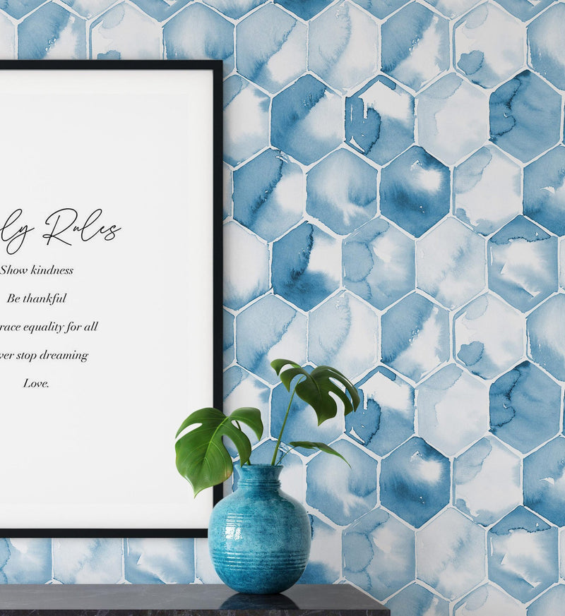 Blue Honeycomb Wallpaper - Olive et Oriel